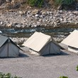 Camp on the banks of the Ganges River. India. — Stock Photo