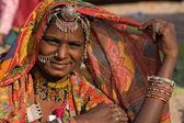Retrato de una mujer de rajasthani india — Foto de Stock