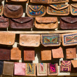 Handmade bags in an Indian market. - Stock Photo