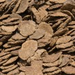 Dry cow dung, India - Stock Photo