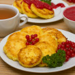 Sweet cheese pancakes on a plate — Foto Stock