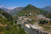 Devprayag is the last prayag of Alaknanda River and from this point the confluence of Alaknanda and Bhagirathi River is known as Ganga. Uttarakhand, India. — Stock Photo