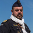 KIEV, UKRAINE -MAY 11: Member of Red Star history club wears historical French Air Force uniform during historical reenactment of WWII, May 11, 2013 in Kiev, Ukraine — Stock Photo