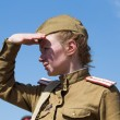 KIEV, UKRAINE - MAY 11 : Member of Red Star history club wear historical Soviet uniform during historical reenactment of WWII on May 11, 20113 in Kiev, Ukraine — Stock Photo