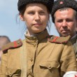 KIEV, UKRAINE - MAY 11 : Members of Red Star history club wear historical Soviet uniform during historical reenactment of WWII on May 11, 20113 in Kiev, Ukraine — Stock Photo