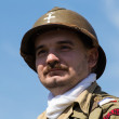 KIEV, UKRAINE -MAY 11: Member of Red Star history club wears historical French uniform during historical reenactment of WWII, May 11, 2013 in Kiev, Ukraine — Stock Photo