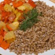 Buckwheat cereal with vegetables — Foto Stock
