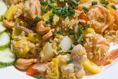 Ris med skaldjur — Stockfoto