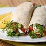 Fresh vegetables in pita bread — Stock Photo #26074901