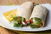 Fresh vegetables in pita bread — Stock Photo