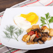 Roasted vegetables and eggs — Stockfoto
