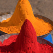 Colored colorful powder kumkum on Indian bazaar for holi festival celebration — Stock Photo