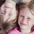 Close-up portrait of the two girl child — Stock Photo