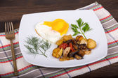 Roasted vegetables and eggs — Stock Photo