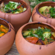 Meat baked with vegetables in rustic clay pot — Stock Photo #28919119
