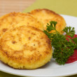Sweet cheese pancakes on a plate — Stockfoto