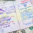 Passport with stamps with us dollar, concept of travel — Stock Photo
