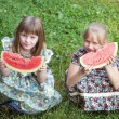 Cute two little girl eating watermelon — ストック写真