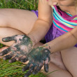 Stockfoto: Little girl with painted hands