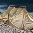 Stock Photo: Camp on the banks of the Ganges River. India.