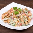 Vegetable salad with chicken in cream sauce — Stock Photo #29245957