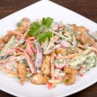 Vegetable salad with chicken in cream sauce — Stock Photo