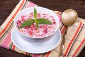 Strawberry in yogurt — Stock Photo