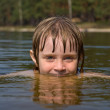 Close up of young beautiful girl with beautiful smile in water — Stock Photo
