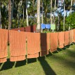 Stock Photo: Fresh clean hotel towels drying on a line outdoors