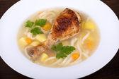 Zuppa di pollo con pasta e verdure — Foto Stock