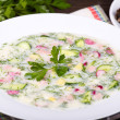 Foto Stock: Vegetable soup ( okroshk)