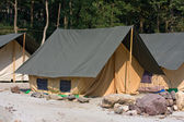 Camp on the banks of the Ganges River. Uttarakhand, India. — Stock Photo