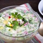 Vegetable soup ( okroshka ) — Stock Photo