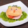 Fun food for kids - hamburger looks like a funny muzzle — Stock Photo #31266103