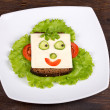 Fun food for kids - face on bread — ストック写真