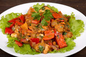 Vegetables with chicken in a curry sauce — Stock Photo