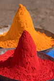 Colored colorful powder kumkum on Indian bazaar — Stock Photo