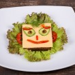 Stock Photo: Fun food for kids - face on bread