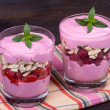Strawberry and raspberry smoothie — Stok fotoğraf