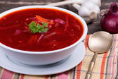 Russian and ukraine cuisine - borsch — Stock Photo