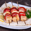 Stock Photo: Chicken and vegetable kabobs