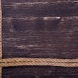 Image of old texture of wooden boards with ship rope — Stock Photo