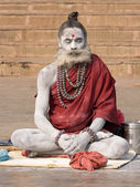 Indian sadhu (holy man). Varanasi, Uttar Pradesh, India. — Zdjęcie stockowe