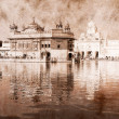 Stock Photo: Golden Temple in Amritsar, Punjab, India. Artwork in retro style.