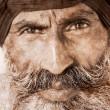 Sikh man in Amritsar, India. Artwork in retro style. — Stock Photo