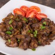 Fried chicken livers — Stock Photo
