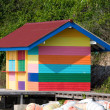 Stock Photo: Varicolored beach house, Thailand