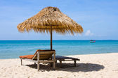 Chaise lounge on the beach , Thailand — Stock Photo