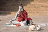 Indian sadhu (holy man). Varanasi, Uttar Pradesh, India. — 图库照片