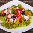 Fresh vegetable greek salad, close up — Stok fotoğraf
